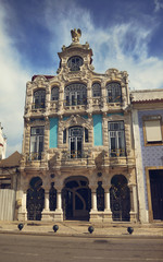 Beautiful architecture of the houses in Aveiro, Portugal