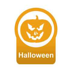 Etiqueta abajo redonda texto Halloween con calabaza