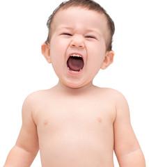 Cute little boy shouting