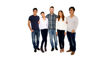 Group of a young happy friends isolated on a white background