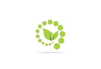 logo bio nature green leaf