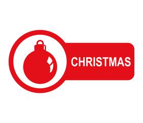 Etiqueta lateral texto CHRISTMAS con bola de adorno