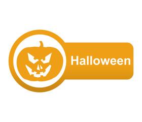 Etiqueta lateral texto Halloween con calabaza