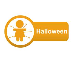 Etiqueta lateral texto Halloween con voodoo doll