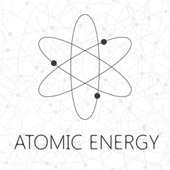 Atom illustration over seamless atoms background