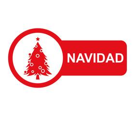 Etiqueta lateral texto NAVIDAD con arbol de navidad