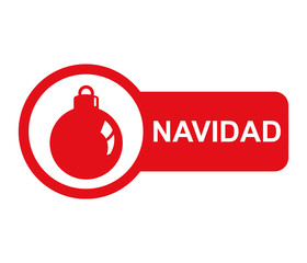 Etiqueta lateral texto NAVIDAD con bola de adorno