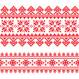 Traditional folk knitted red embroidery pattern from Ukraine - 71683661