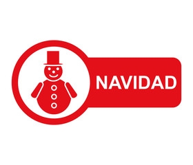 Etiqueta lateral texto NAVIDAD con hombre de nieve