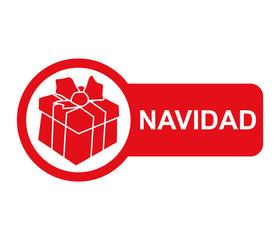 Etiqueta lateral texto NAVIDAD con regalo