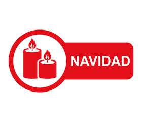 Etiqueta lateral texto NAVIDAD con velas