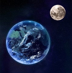 Earth and moon as seen from space.