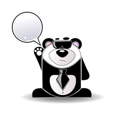 Cartoon illustration of mysterious panda with a white sign.
