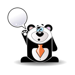 Cartoon illustration of talking panda with a white sign.