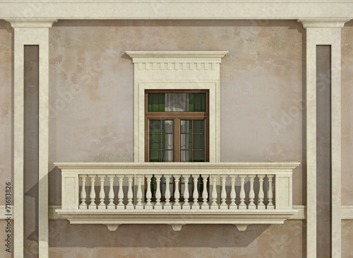 canvas print picture Detail of a classic facade