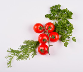 Cherry Tomato Vegetables with Dill and Parsley Leaves