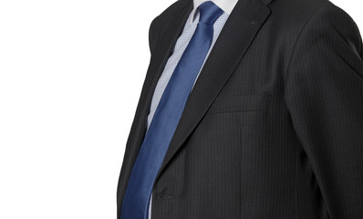 Man in suit detail isolated on white