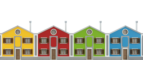 Colorful houses on white