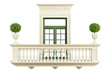 classic balcony balustrade with window - 71684207
