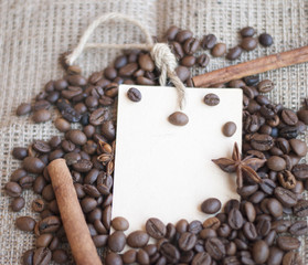 card with roasted coffee and cinnamon
