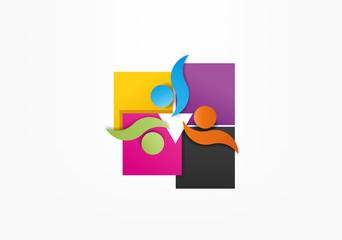 Abstract human teamwork symbol, icon, logo