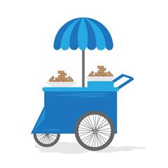Ice cream cart. Vector.
