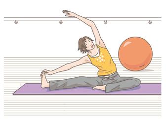 ヨガ ストレッチ 柔軟体操 女性