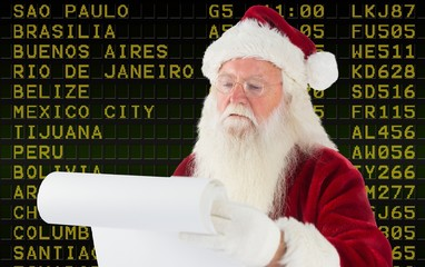 Composite image of santa claus checking his list