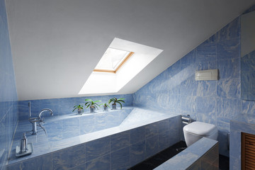 Beautiful modern attic, interior bathroom