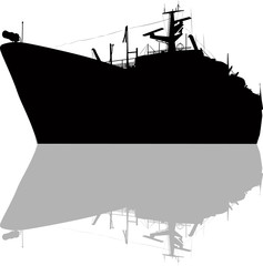 large ship silhouette and reflection isolated on white