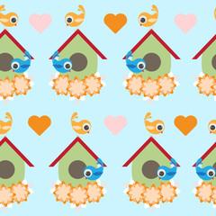 Seamless cute bird winter pattern for kids