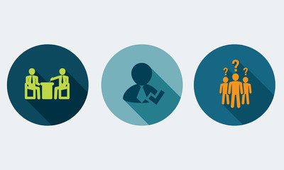 Human resources and management vector concept.Set icons 4.