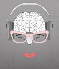 Human brain grooving music from headphones
