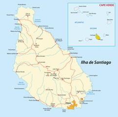 santiago, cape verde, map