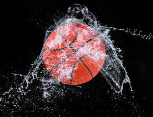 Sport ball with water splash on dark background