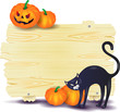 Halloween signboard with black cat and pumpkins