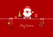 Card Santa Glasses & Symbols Red