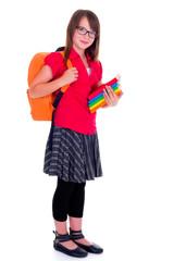 Standing schoolgirl holding books