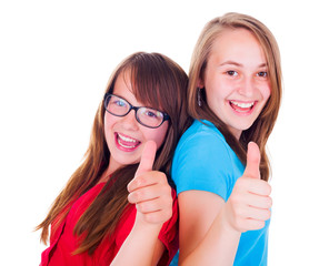 Girls showing thumbs up