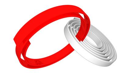 Spiralbänder, verbunden vor weißem Hintergrund