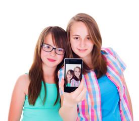 Girlfriends taking a selfie