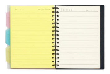 Opened recycle note book on white background, clipping path.