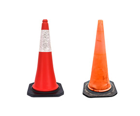 Set of Traffic cone - barricade warning cones on white backgroun