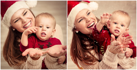 Happy young mom with little child enjoying snowflakes
