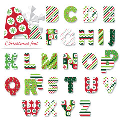 Christmas font. Patterns included under clipping mask.