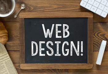 Web design handwritten with white chalk