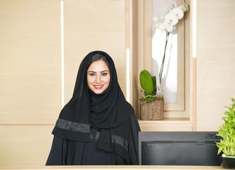 Arabian Receptionist on help desk