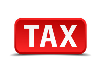 Tax red 3d square button isolated on white