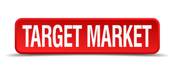 Target market red 3d square button isolated on white
