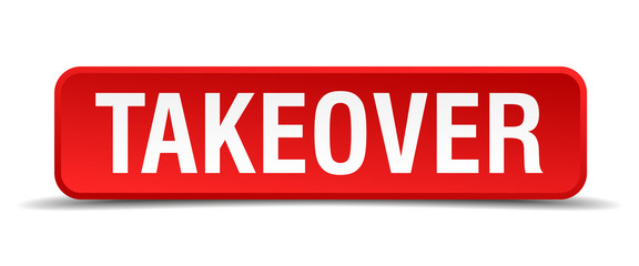 Takeover red 3d square button isolated on white